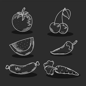 Conjunto de símbolos de comida e comida