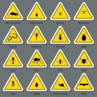 Conjunto de símbolos de controle de pragas e insetos