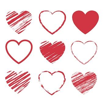 Conjunto de símbolos de corações vermelhos com fundo branco isolado