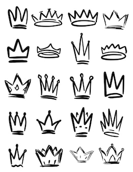 Conjunto de símbolos de coroa de mão desenhada. elementos de design para logotipo, etiqueta, sinal, cartaz, cartão.