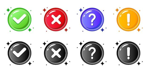 Conjunto de símbolos de cruz e marca de verificação