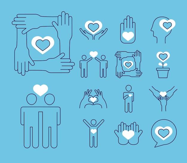 Conjunto de símbolos de cuidados