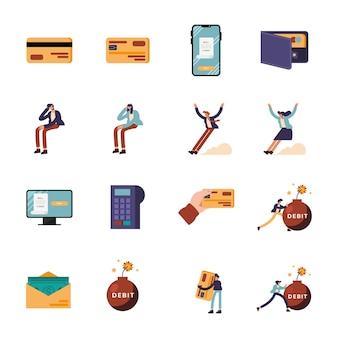 Conjunto de símbolos de débito e pessoas de dinheiro, financeiro, negócios, banco, comércio e, mercado, tema, ilustração