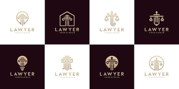 Conjunto de símbolos de direito da justiça, escritório de advocacia, escritório de advocacia, serviços de advogado, modelos de design de logotipo de luxo