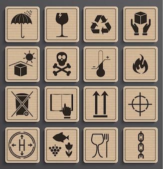 Conjunto de símbolos de embalagem.