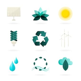 Conjunto de símbolos de energia alternativa vector