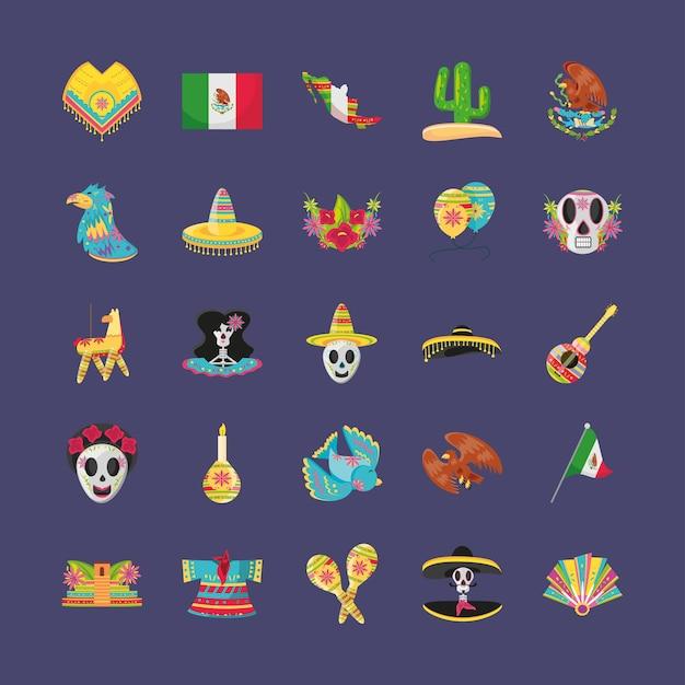 Conjunto de símbolos de estilo mexicano detalhado, cultura do méxico