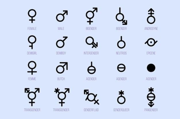 Conjunto de símbolos de gênero. sinais de orientação sexual