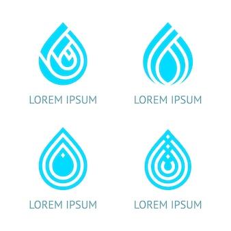 Conjunto de símbolos de gotas de água, modelo de logotipo