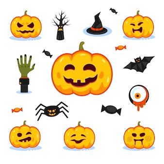 Conjunto de símbolos de halloween.