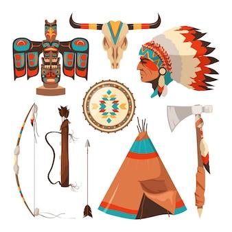 Conjunto de símbolos de índios americanos. ilustração tribal nativa americana tradicional tomahawk