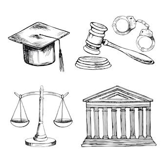 Conjunto de símbolos de lei escalas vetoriais desenhadas à mão