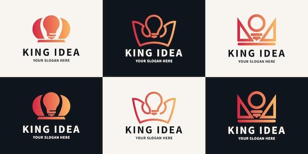 Conjunto de símbolos de luxo abstrato do logotipo da lâmpada da coroa