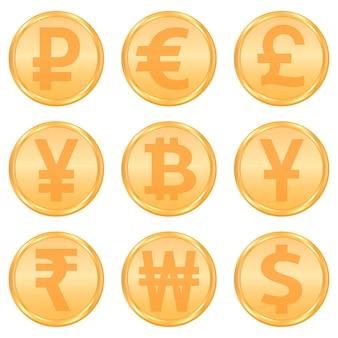Conjunto de símbolos de moeda e criptomoeda