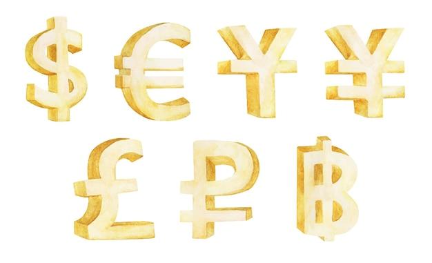 Conjunto de símbolos de moeda isolado no branco