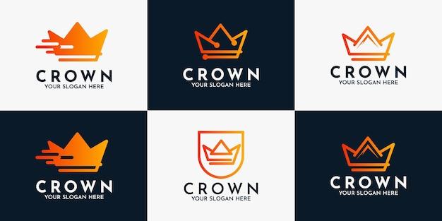 Conjunto de símbolos de negócios do logotipo abstrato da coroa