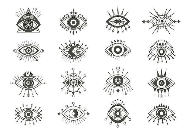 Conjunto de símbolos de olhos místicos