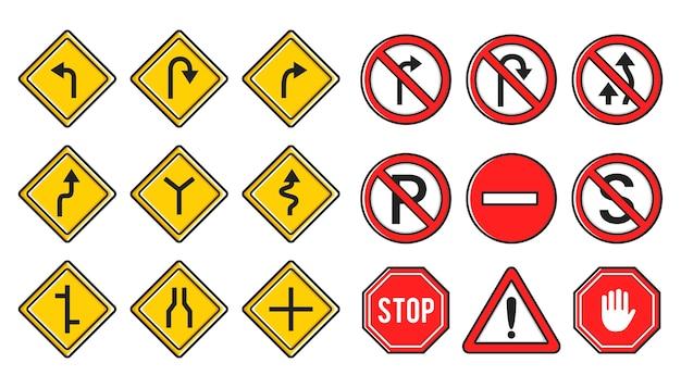 Conjunto de símbolos de placa de sinalização de trânsito amarelo e vermelho