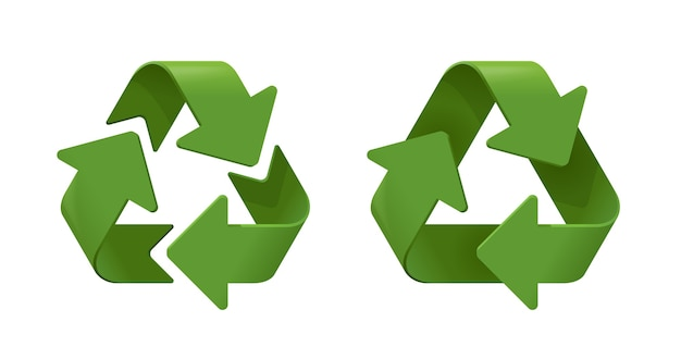 Conjunto de símbolos de reciclagem realista. ícones verdes 3d em fundo branco