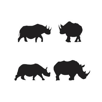 Conjunto de símbolos de rinoceronte silhueta de rinoceronte