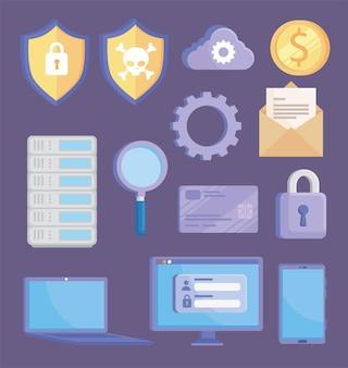 Conjunto de símbolos de segurança cibernética
