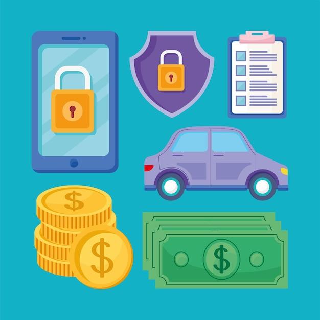 Conjunto de símbolos de seguro de trabalho digital