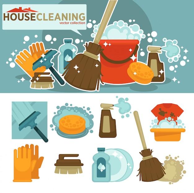 Conjunto de símbolos de serviço de limpeza.