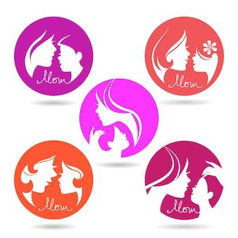 Conjunto de símbolos de silhueta de mãe e bebê. ícones de feliz dia das mães