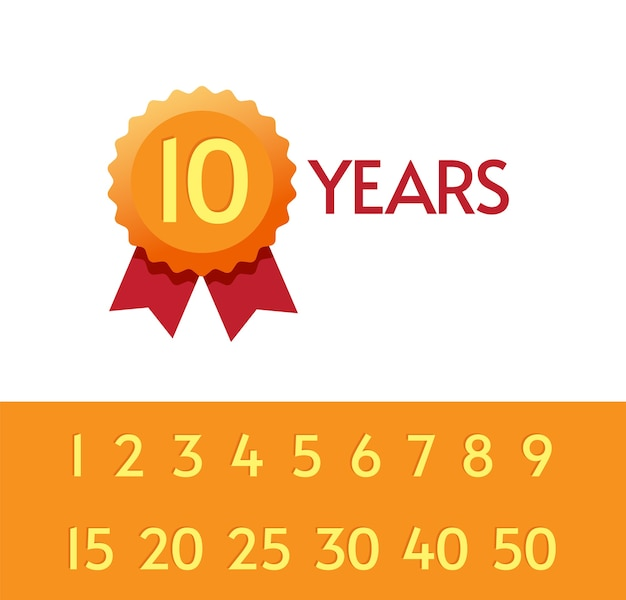 Conjunto de símbolos de tags de ícones de aniversário de 10, 15, 20 anos