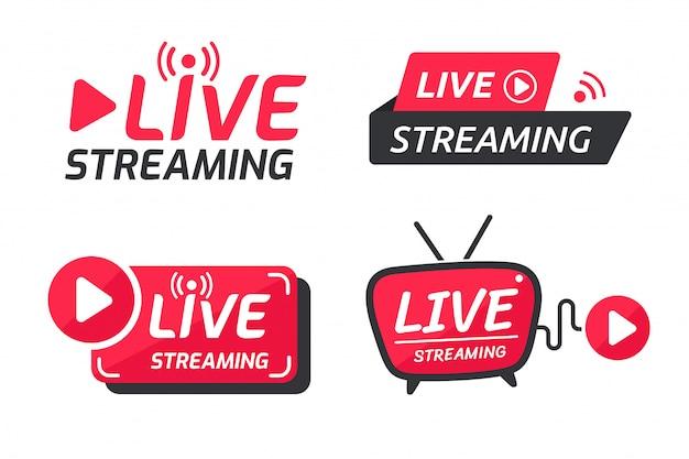 Conjunto de símbolos de transmissão ao vivo ícone de transmissão online o conceito de transmissão ao vivo para venda nas mídias sociais.