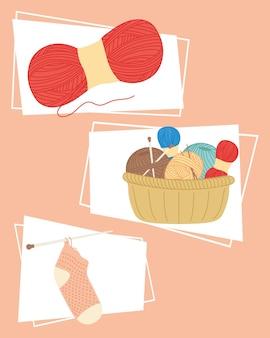 Conjunto de símbolos de tricô e costura