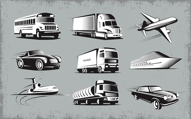 Conjunto de símbolos de vários modos de transporte