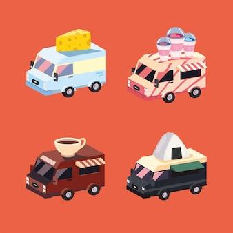 Conjunto de símbolos de veículos food trucks