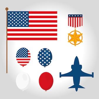 Conjunto de símbolos de veteranos de guerra americanos