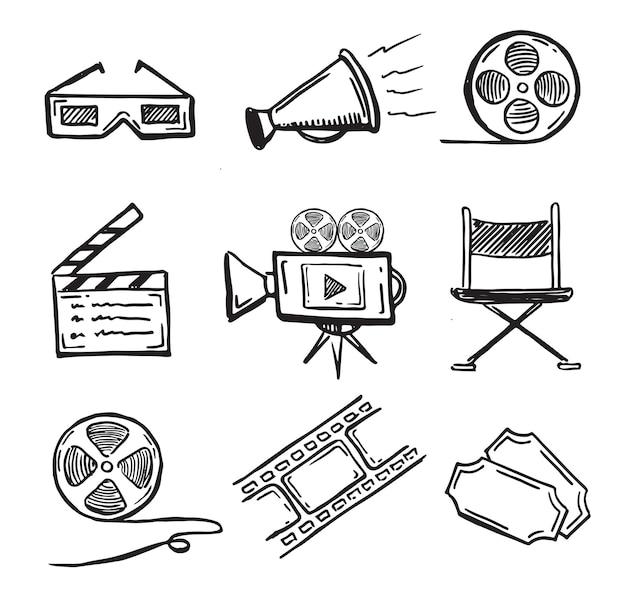 Conjunto de símbolos decorativos de cinema doodle estilo desenhado à mão
