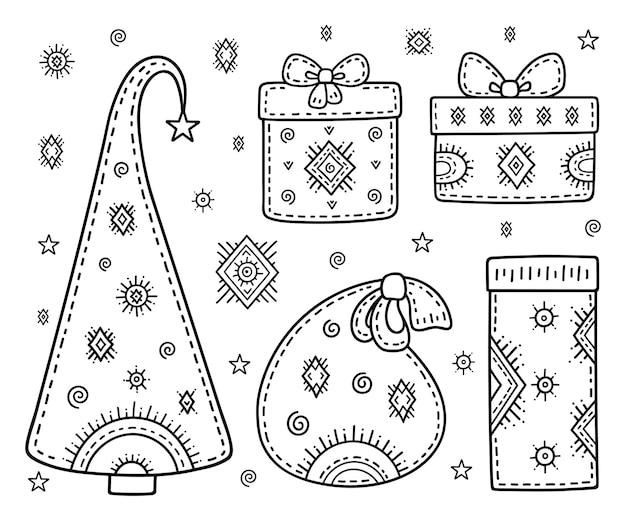 Conjunto de símbolos decorativos de férias. árvore de natal, presentes, bolsa; flocos de neve e estrelas. página do livro para colorir.
