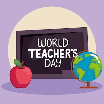 Conjunto de símbolos do dia mundial dos professores