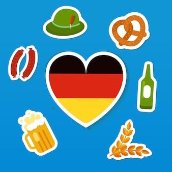 Conjunto de símbolos do festival tradicional de cerveja oktoberfest bandeira da alemanha em formato de coração