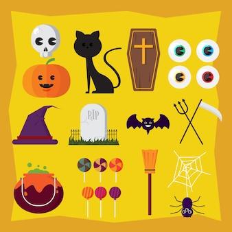Conjunto de símbolos do ícone de halloween.