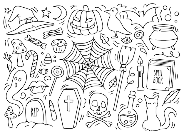 Conjunto de símbolos doodle de halloween poção de abóbora gato vassoura de corvo caldeirão de chapéu de bruxa