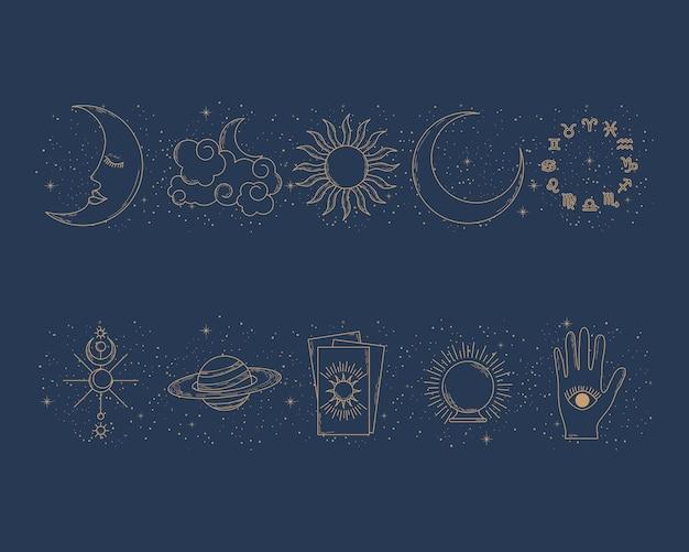 Conjunto de símbolos e astrologia do zodíaco