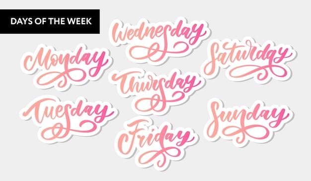 Conjunto de símbolos e dias da semana manuscritos de vetor