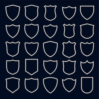 Conjunto de símbolos e ícones de escudo de estilo de linha