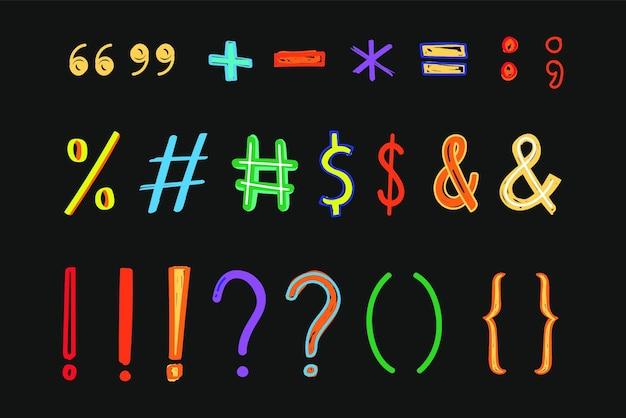 Conjunto de símbolos e marcas