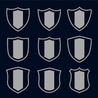Conjunto de símbolos e sinais de escudo cinza