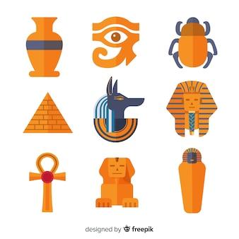 Conjunto de símbolos egípcios em design plano