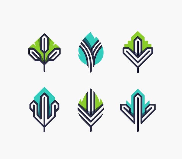 Conjunto de símbolos gráficos de folhas, elementos de design geométrico de cor e linha, ícones ecológicos, logotipo.