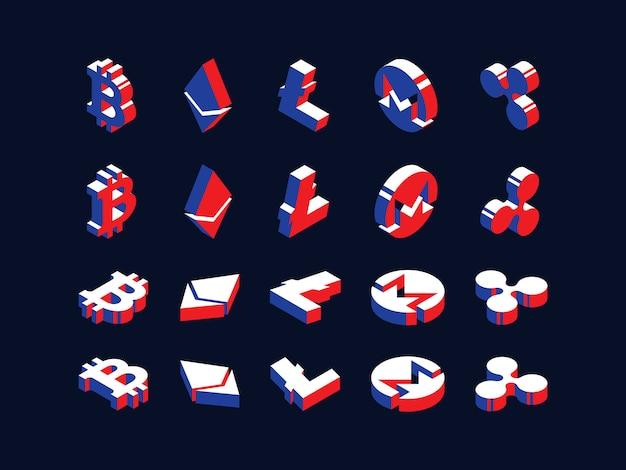 Conjunto de símbolos isométricos de várias criptomoedas.