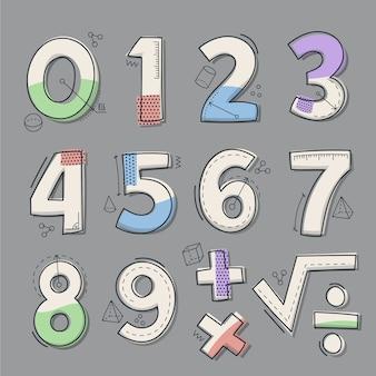 Conjunto de símbolos matemáticos desenhados à mão
