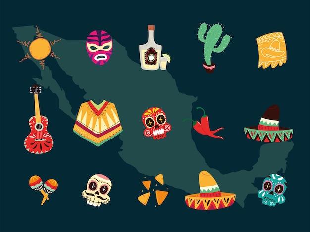 Conjunto de símbolos mexicanos, design de ícones de celebração mexicana